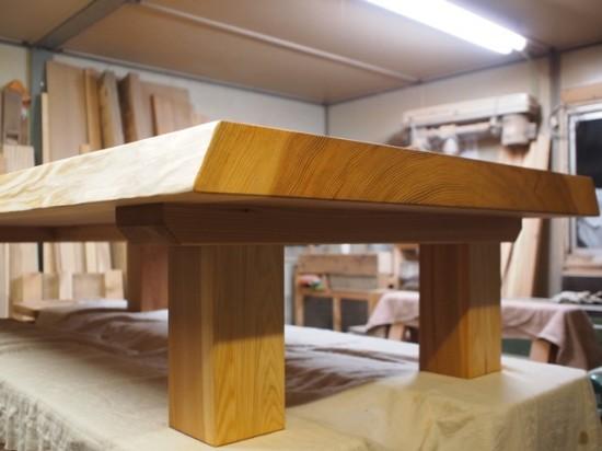 総杉造り杉超良杢一枚板座卓、完成!20131025-4