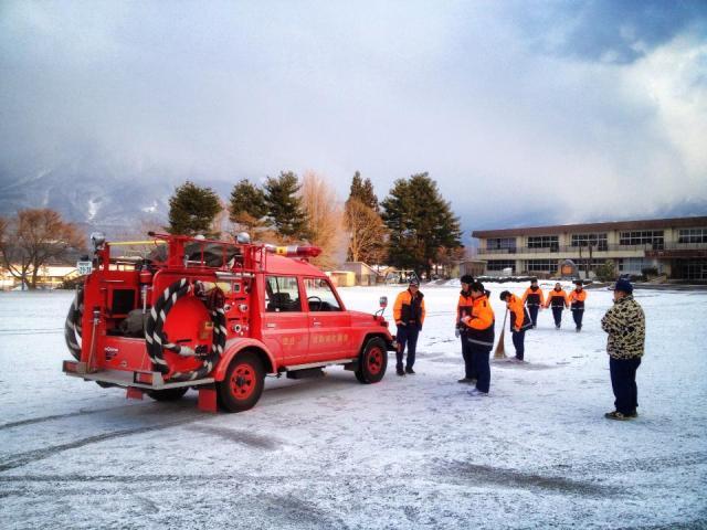 消防団出初式に向けての練習