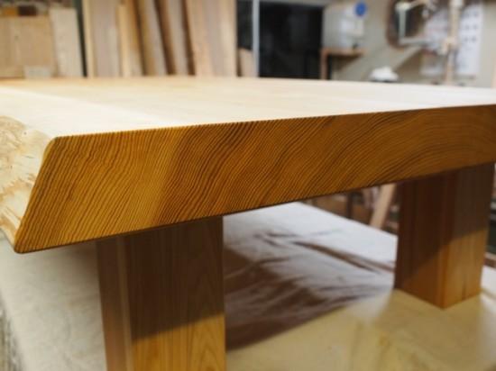 総杉造り杉超良杢一枚板座卓、完成!20131025-2