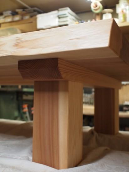 総杉造り杉超良杢一枚板座卓、完成!20131025-3