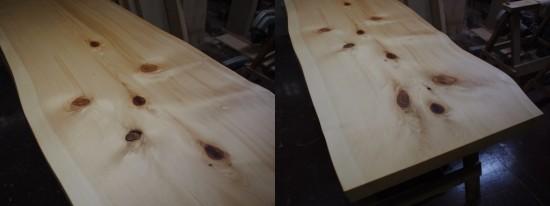 木曽檜・クス一枚板天板を仕上げました2