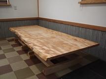 栃一枚板テーブル(テーブル・座卓兼用脚)