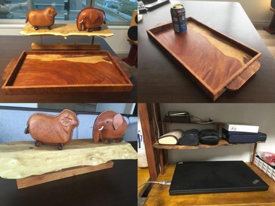欅良杢一枚板薄板のお盆・桑一枚板の飾り棚20160615