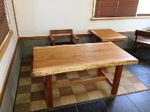 総欅造り欅一枚板デスク・サイドテーブル