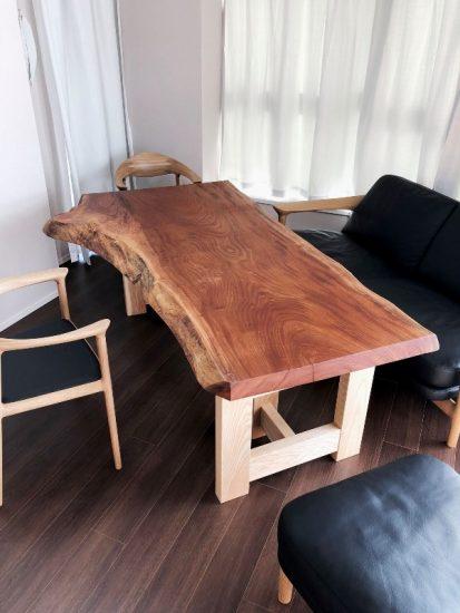 欅一枚板テーブル・ホワイトアッシュテーブル・座卓兼用脚20180120