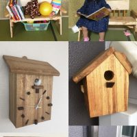 お客様の作品「子供ベンチ、小鳥の巣箱、巣箱型掛け時計」~京都・松井様~