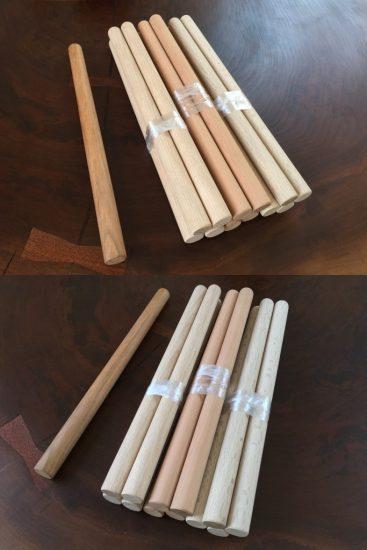 銘木大鼓バチオーダー製作事例(山桜・ホワイトアッシュ・シラカシバチ)20170622-2