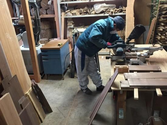 今日の作業場20150130~ブラックウォルナット薄板の加工~