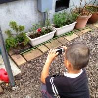 息子がカメラに。。