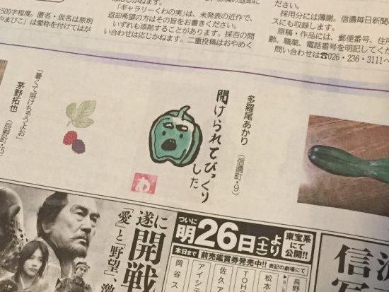 娘の絵手紙が信濃毎日新聞に掲載されました!20170825-1