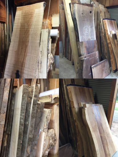 楢・ブラックウォルナット・白樫・杉の一枚板素材入荷20170911