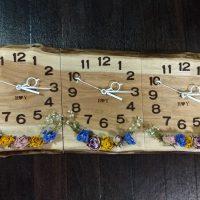 お客様DIY作品「結婚式の3連時計(胡桃一枚板)」~埼玉県川上様~20180616