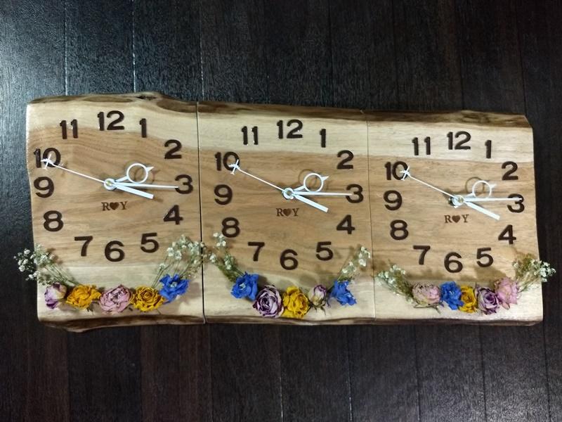 お客様DIY作品「結婚式の3連時計(胡桃一枚板)」20180616