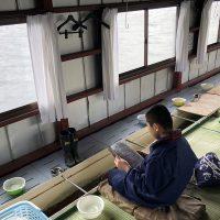息子と2人、わかさぎ釣りへ20180322