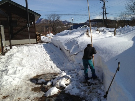 除雪機の目印用の竹棒立て3