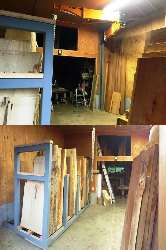 とっこやさん作業場にクレーンと大型一枚板専用棚が入りました20150622