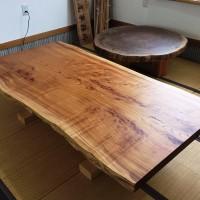 長野県・古旗様欅一枚板テーブル、オイル塗装完了!20150623