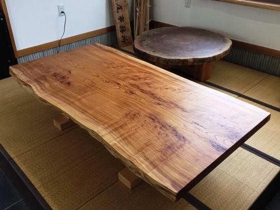 欅一枚板テーブル、オイル塗装完了!20150623-1