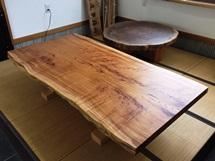 欅極上杢一枚板テーブル(テーブル・座卓兼用脚)