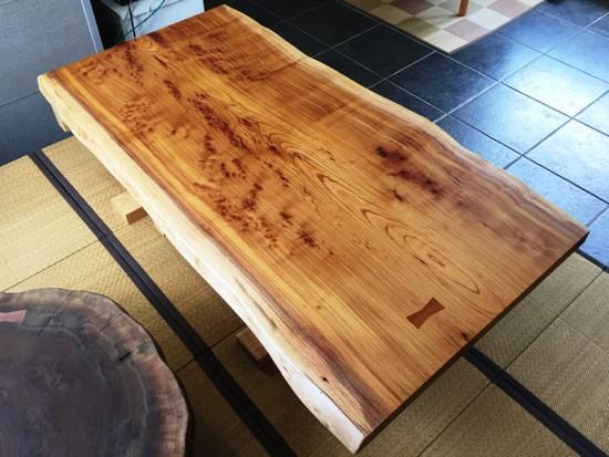 欅一枚板テーブル、オイル塗装完了!20150623-2