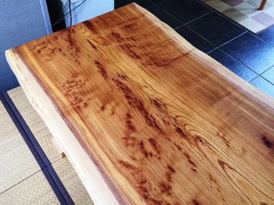 欅一枚板テーブル、オイル塗装完了!20150623-3