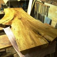 千葉県青柳様楢一枚板酒卓、完成間近です20130223