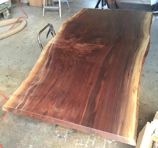 ブラックウォルナット一枚板天板、完成!20150917-1