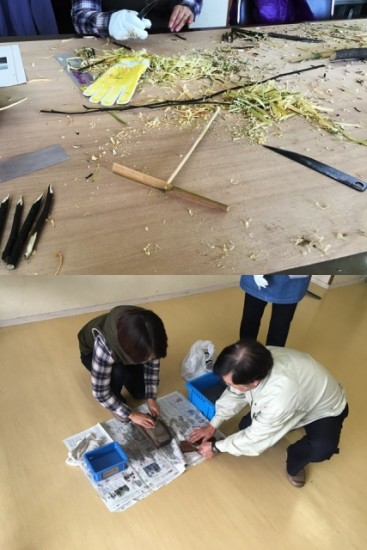 鍛冶職人の方が製作した小刀を使った工作教室-3