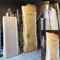 銀杏・杉一枚板天板素材、大量のブラックウォルナット薄板が入荷!20190928
