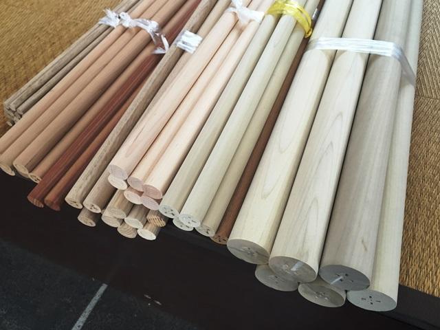 7樹種・8種類の丸棒を製作しました20151111
