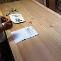 埼玉県天満様杉一枚板ダイニングテーブル製作開始20131012~総杉造り耳付き板脚タイプ~