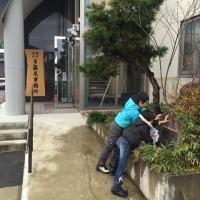 一茶の句碑の掃除20151128~多羅尾事務所大平オフィス~