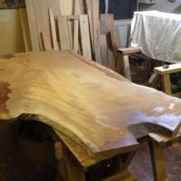 欅一枚板テーブル製作工程20131217~天板平面出し・チギリ加工~