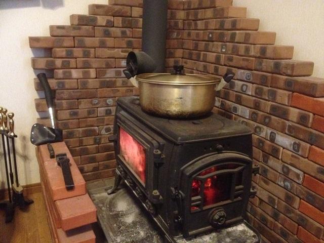 薪ストーブでのカレー作り20140120
