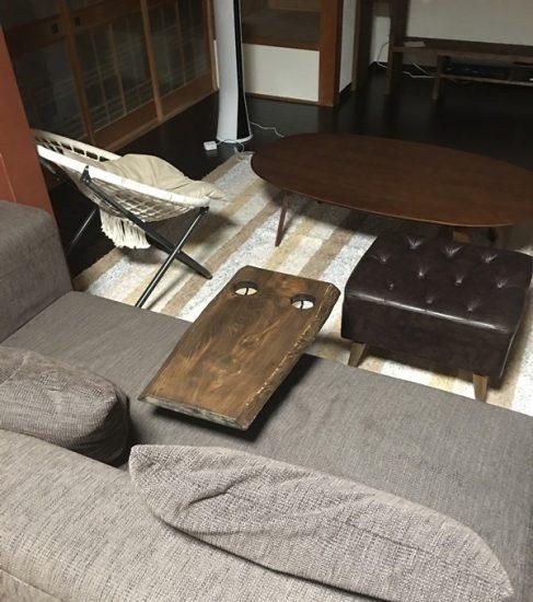 お客様DIY作品事例「栃一枚板のソファ用テーブル」20171021-2