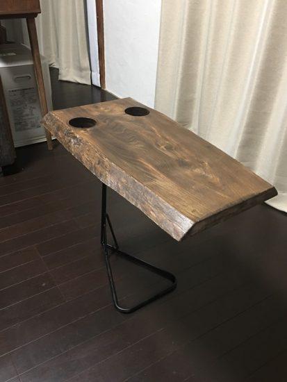 お客様DIY作品事例「栃一枚板のソファ用テーブル」20171021-1