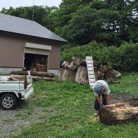 栗の丸太を製材20160707