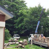 欅巨木丸太切株、ついに製材!