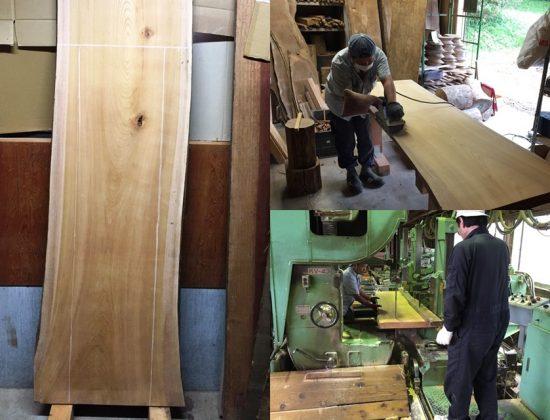欅一枚板作業台は長さ4000mmの巨木の良い部分を取りました20160929