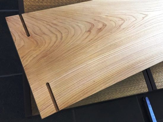 欅一枚板作業台オーダー製作完成20160929-2