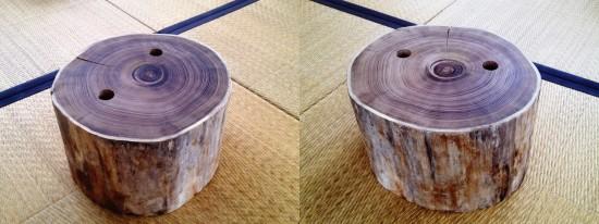彫金作業台用丸太(エンジュ・穴あけ加工)