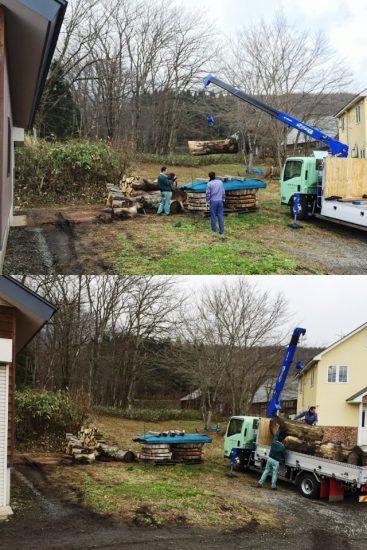 大型一枚板の搬入と同時に作業場横に置いていた欅丸太4本を製材へ20161125
