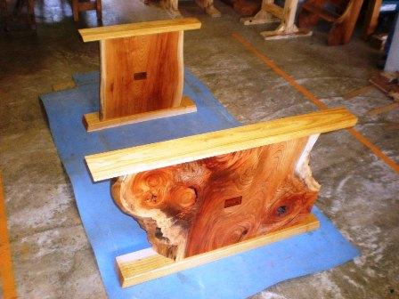 欅一枚板ダイニングテーブル組立1