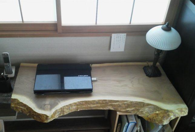 お客様のDIY作品「黄蘗(キハダ)一枚板のデスク天板」~千葉県・八木下様~20200111-2