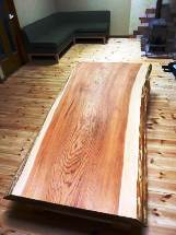 総杉造り一枚板厚盤座卓