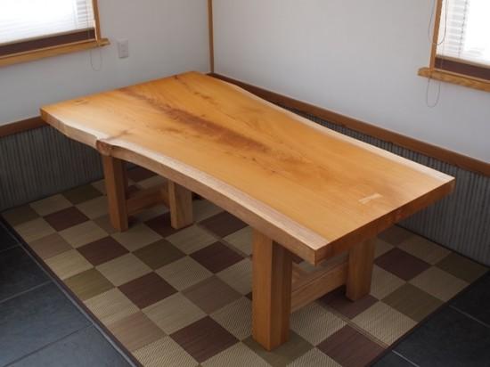 欅一枚板広幅厚盤テーブル完成20140109-1