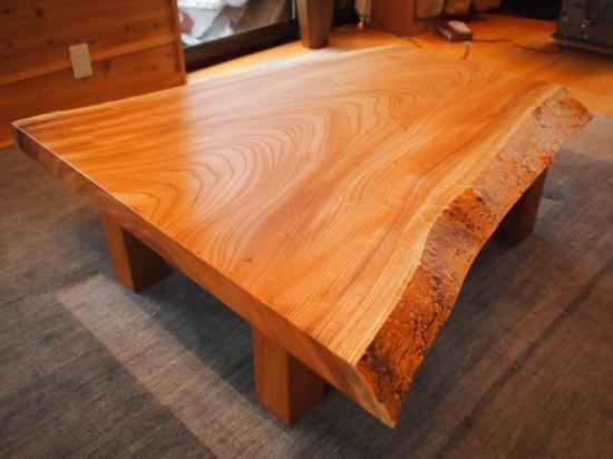 欅一枚板玉杢盤座卓3