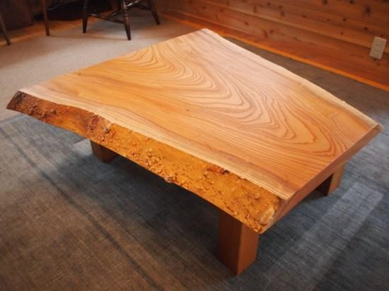 欅一枚板玉杢盤座卓2