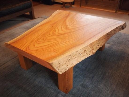 欅一枚板玉杢盤座卓1