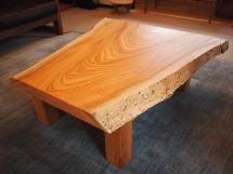 欅一枚板玉杢盤座卓(総欅造り)